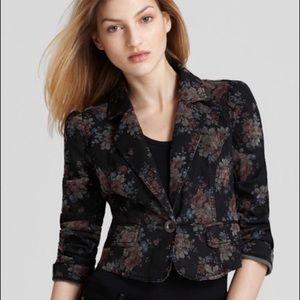 Free People Black Denim Floral Blazer | 4